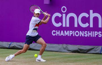 Alex de Minaur during his quarterfinal win against Marin Cilic. Picture: Getty Images