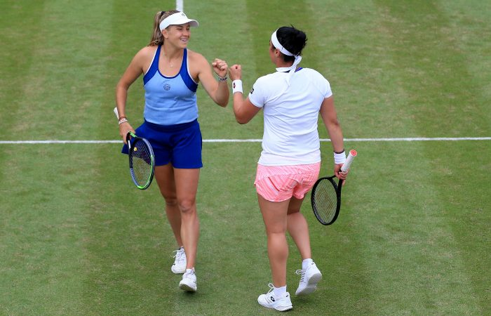 Ellen Perez and Ons Jabeur during their semifinal win in Birmingham. Picture: Getty Images