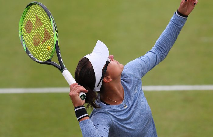 Australian Arina Rodionova serves during last week's Nottingham final. Picture: Getty Images