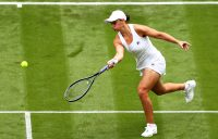 FINE TOUCH: World No.1 Ash Barty in her first-round win at Wimbledon 2021. Picture: Getty Images