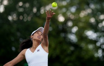 Priscilla Hon serves during her first-round Wimbledon qualifying win. Picture: AELTC