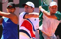 Astra Sharma, Alex de Minaur and James Duckworth are all trying to reach the third round at Roland Garros for a first time. Pictures: Getty Images