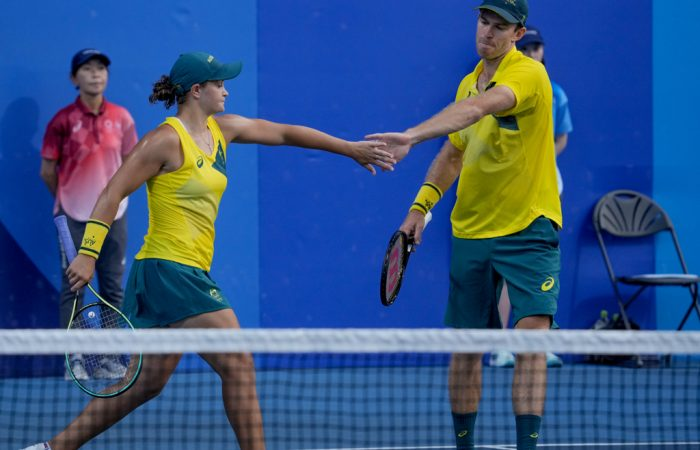 Ash Barty and John Peers at the Tokyo Olympics; picture by Kopatsch Sato Sidorjak