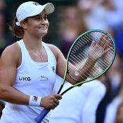 World No.1 Ash Barty acknowledges supporters at Wimbledon; Getty Images