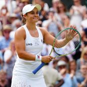 Ash Barty celebrates her progress to the 2021 Wimbledon final; Getty Images