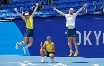 Australian Olympians Storm Sanders, Ash Barty and Sam Stosur in Tokyo.