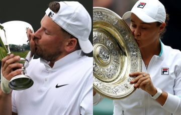 Dylan Alcott and Ash Barty celebrate their 2021 Wimbledon triumphs..