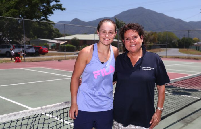 Ash Barty and Evonne Goolagong Cawley at Edmonton Tennis Club, Cairns, in 2019; Getty Images