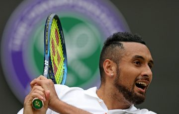 Nick Kyrgios at Wimbledon. Picture: Getty Images