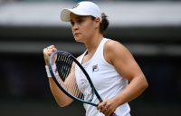 Ash Barty celebrates during her fourth-round win at Wimbledon. Picture: Getty Images