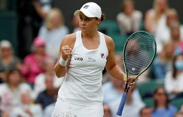 A focused Ash Barty during her quarterfinal win at Wimbledon. Picture: Getty Images