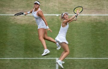Storm Sanders lines up a smash during her Wimbledon ladies' doubles semifinal. Picture: Getty Images