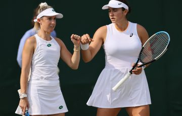 Storm Sanders and American Caroline Dolehide are into the ladies' doubles quarterfinals at Wimbledon. Picture: Getty Images