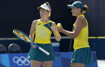 Storm Sanders and Ash Barty at the Tokyo 2020 Olympic Games. Picture: Getty Images