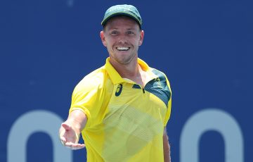 James Duckworth smiles after winning his first-round match at the Tokyo 2020 Olympic Games. Picture: Getty Images