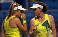 Ellen Perez and Sam Stosur in Tokyo. Picture: Getty Images