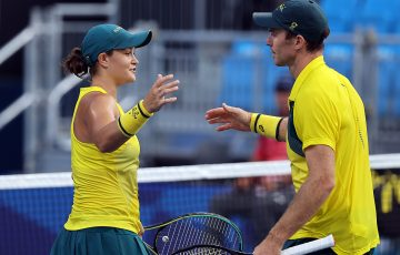 John Peers and Ash Barty in Tokyo. Picture: Getty Images