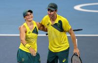 Ash Barty and John Peers celebrate their mixed doubles quarterfinal win in Tokyo. Picture: Getty Images