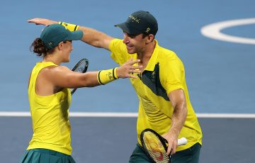 Ash Barty and John Peers in Tokyo. Picture: Getty Images