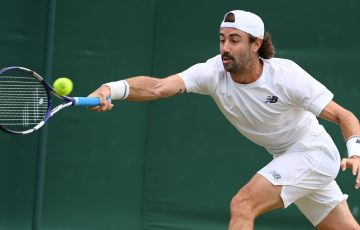 Jordan Thompson, pictured at Wimbledon, exits in the semifinals of the Hall of Fame Open in Newport; Getty Images
