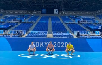Max Purcell, middle, in Tokyo with Australian team-mates Luke Saville and John Peers.