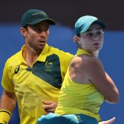 John Peers and Ash Barty progress to the mixed doubles quarterfinal in Tokyo. Pictures: Getty Images