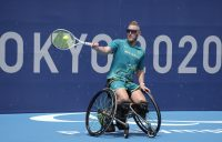 Ben Weekes on the practice court at the Tokyo 2020 Paralympic Games this week. Picture: Tennis Australia
