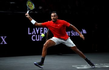 Nick Kyrgios at the Laver Cup in Geneva in 2019. Picture: Getty Images