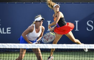 Ellen Perez (right) and Kveta Peschke in action in Montreal. Picture: Getty Images