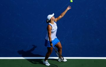 Ash Barty serves in Cincinnati. Picture: Getty Images