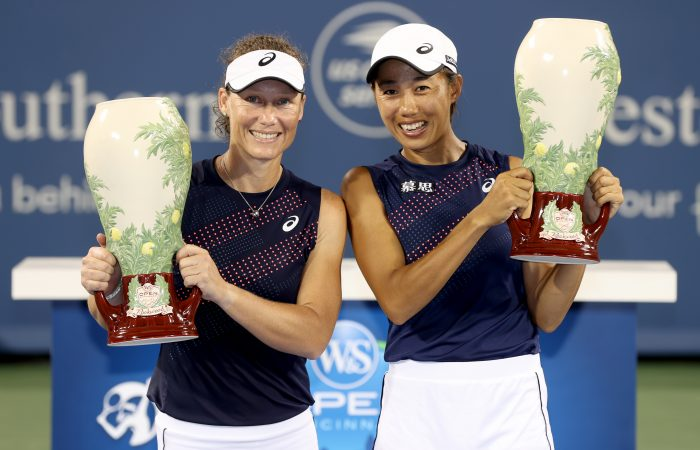 CHAMPIONS: Sam Stosur and Zhang Shuai with their Cincinnati trophies. Picture: Getty Images