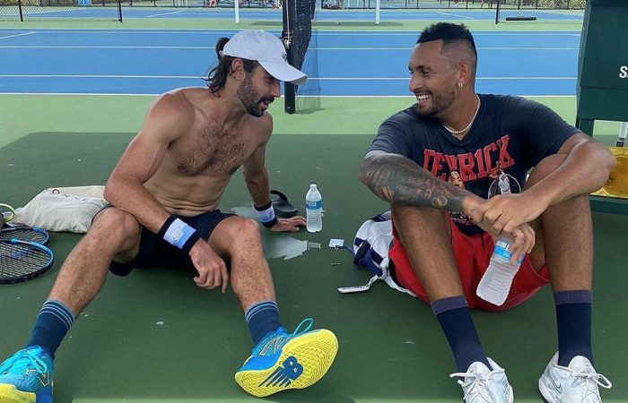 Jordan Thompson and Nick Kyrgios at the IMG Academy in Florida. Picture: Instagram