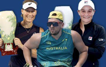 Australian stars Sam Stosur, Dylan Alcott and Ash Barty