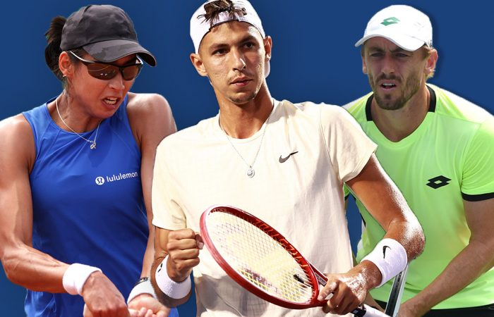 Astra Sharma, Alexei Popyrin and John Millman are all in action on day one of the US Open. Pictures: Getty Images