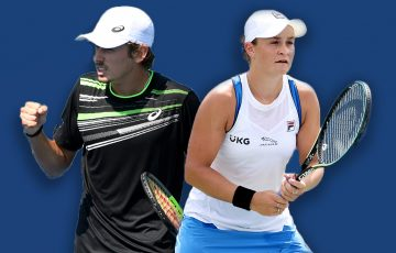 Alex de Minaur and Ash Barty lead the Australian charge at the 2021 US Open. Pictures: Getty Images