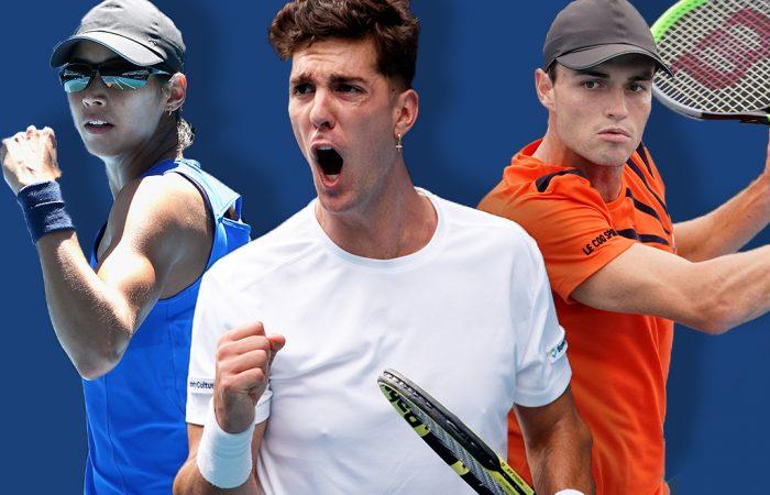 Australian contenders Astra Sharma, Thanasi Kokkinakis and Chris O'Connell. Pictures: Tennis Australia