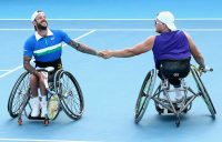 Heath Davidson and Dylan Alcott at the Australian Open earlier this year. Picture: Tennis Australia