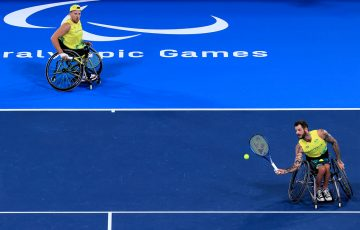 Dylan Alcott and Heath Davidson at the Tokyo Paralympics; Getty Images