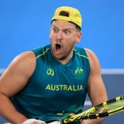 Dylan Alcott celebrates his gold medal win at the Tokyo Paralympics; Getty Images