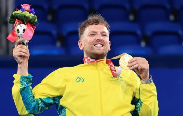 World No.1 Dylan Alcott celebrates his gold medal victory at the Tokyo Paralympics; Getty Images