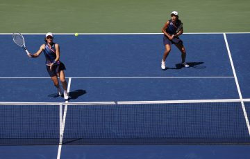 Sam Stosur and Zhang Shuai in action at the US Open. Picture: Getty Images