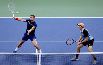 Filip Polasek and John Peers in action at the US Open. Picture: Getty Images