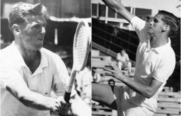 Frank Sedgman (left) and Roy Emerson are celebrating milestone US Open anniversaries.