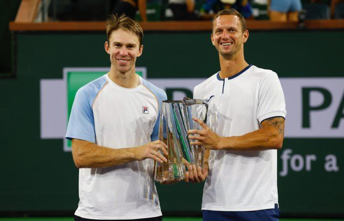 John Peers and Filip Polasek celebrate their Indian Wells victory. Picture: Indian Wells