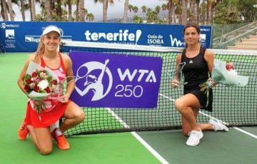 Ellen Perez and Norway's Ulrikke Eikeri celebrate their WTA title win in Tenerife. Picture: Instagram